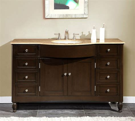 Bathroom Vanities Single Sink by 58 Inch Travertine Top Bathroom Single Sink Vanity Large