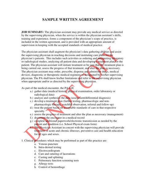 sample written agreement   state board  medicine