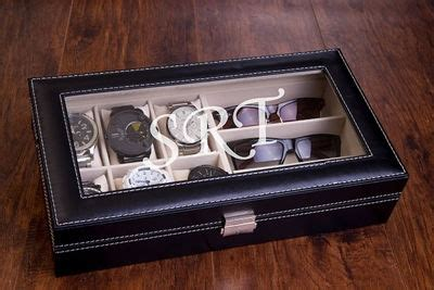 engraved sunglasses  case black leather  box