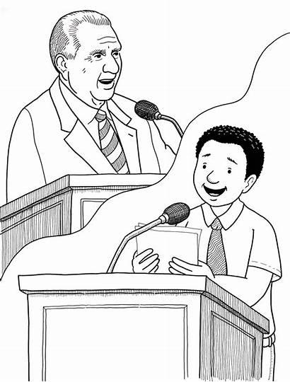President Lds Coloring Monson Talk Speaking Primary