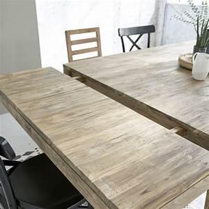 Table Bois Metal Avec Rallonge : table en bois de teck recycl carr e avec rallonges 12 personnes bois dessus bois dessous ~ Melissatoandfro.com Idées de Décoration