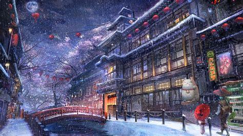 Snow Anime Wallpaper - 1920x1080 anime traditional city raining snow