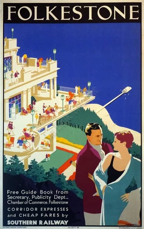 English Art Deco Travel Poster for Folkestone by Danvers ...