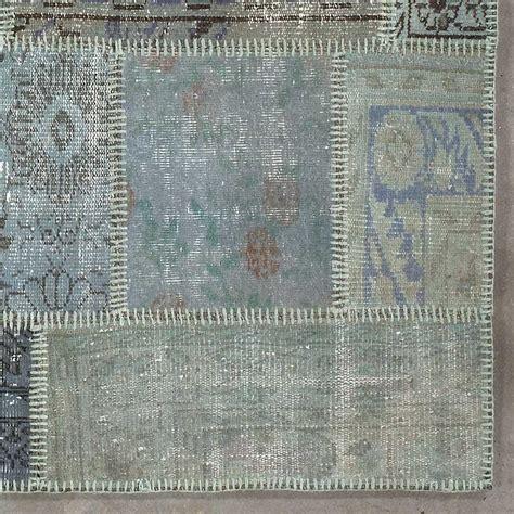 tapis de salon kilim patchwork gris bleu en et coton par angelo