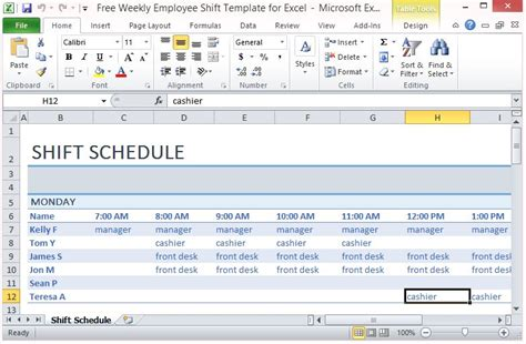 weekly employee shift template  excel