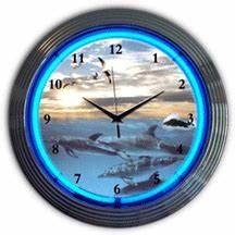 Dolphins at Sea Neon Clock NC 20 116