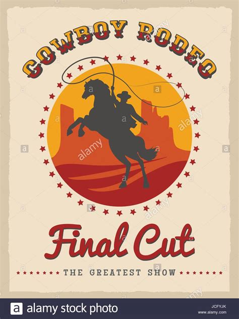 cowboy rodeo poster vector illustration american country