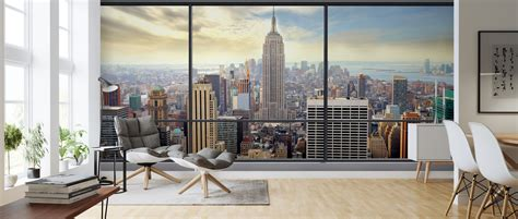 penthouse window view high quality wall murals