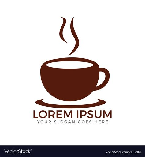 Coffee cup logo vector illustration emblem on white. Cup of coffee logo design Royalty Free Vector Image