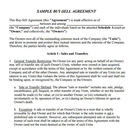 sample buy sell agreement templates   ms