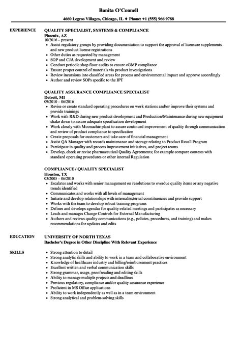 Quality Specialist Resume by Compliance Quality Specialist Resume Sles Velvet