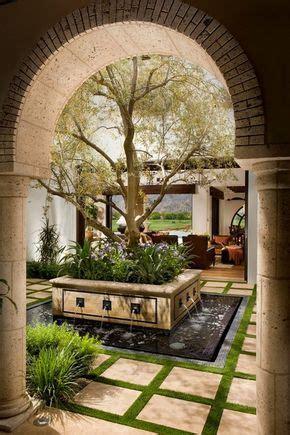 spanish courtyard fountain modern backyard design