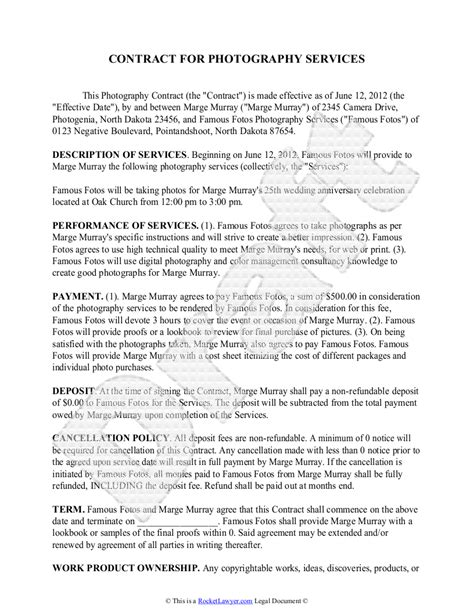 Professional Photo Shoot For Resume by Service Agreement Form Free Contract Template Sle Photography Contract Template Free Sle