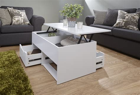 White Coffee Table Storage Unit 2 Drawer Lift Up Top