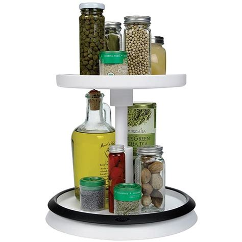 Oxo Spice Rack by Oxo Grips Two Tier Turntable In Lazy Susan Turntables