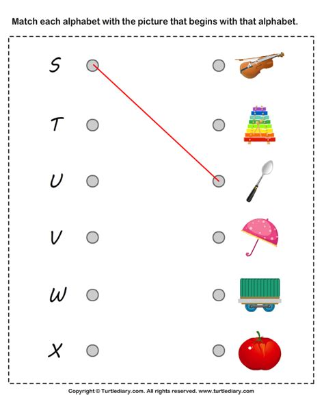 Matching Letters To Pictures S To X Worksheet  Turtle Diary