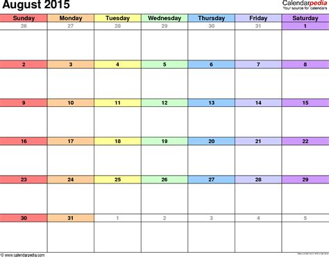 August 2015 Calendars For Word, Excel & Pdf