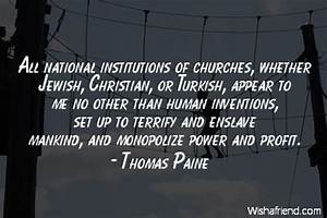 Thomas Paine Quote: All national institutions of churches ...