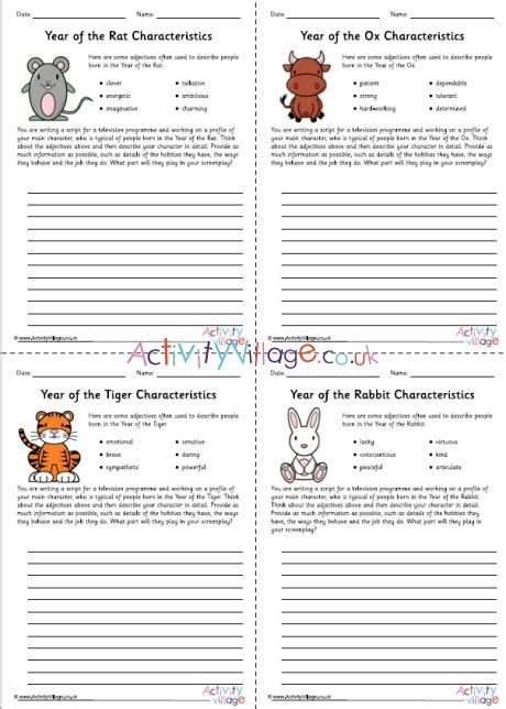 all chinese zodiac character study worksheets