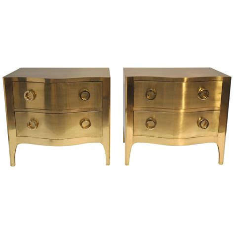 Brass Nightstands by Pair Of Brass Covered Nightstands Dressers At 1stdibs