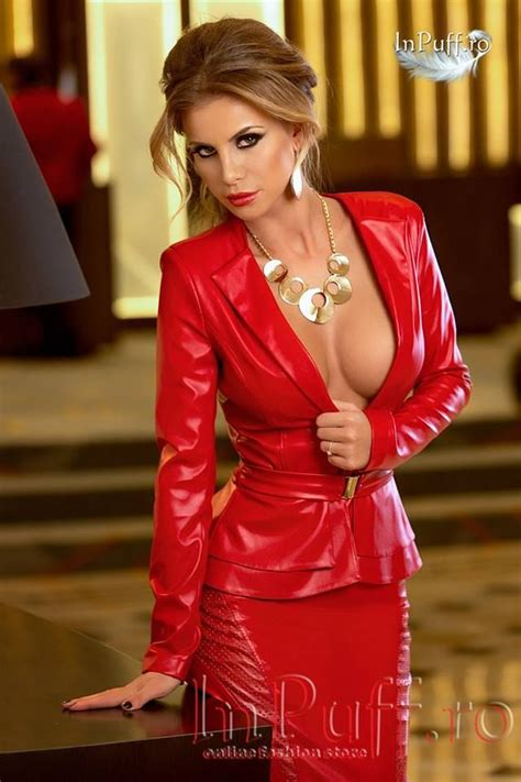 Red leather outfit