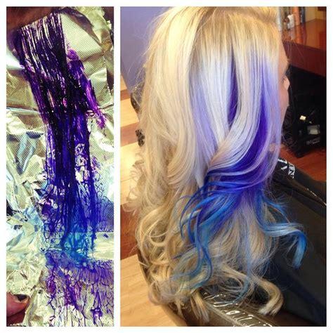 Blonde Hair With Pravana Violet And Blue Streaks Hair