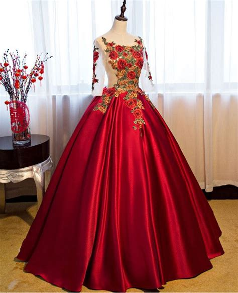 Luxury women red A-line dinner banquet long Dress floral ...