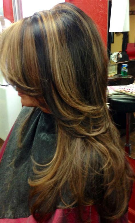 dark hair  light  caramel highlights  hairart