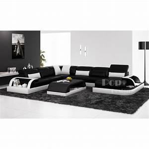 Canapé Blanc Design : canape cuir noir blanc ~ Teatrodelosmanantiales.com Idées de Décoration