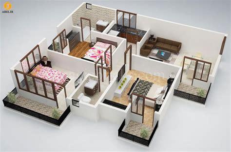 small 2 bedroom houses طراحی داخلی آپارتمان 50 پلان آپارتمان 3 خوابه آرل 17084