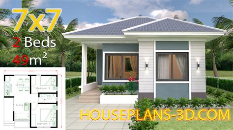 House Design 7x7 with 2 Bedrooms full plans House Plans 3D