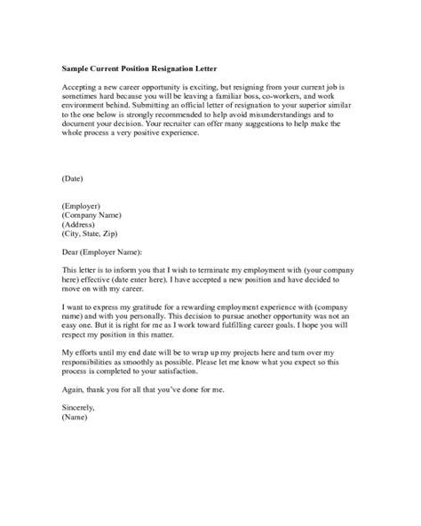 Sample Current Position Resignation Letter - Edit, Fill, Sign Online | Handypdf