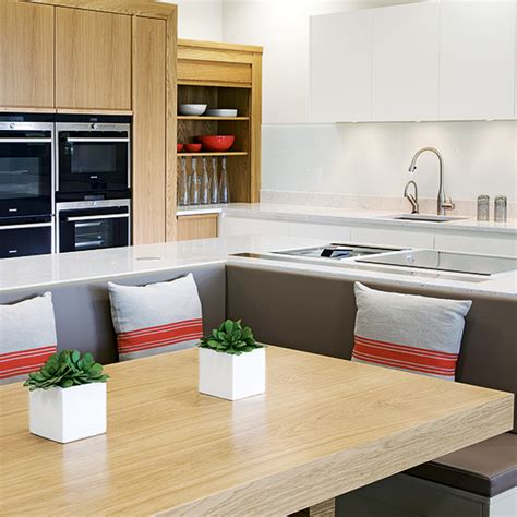 kitchen island with banquette a place to sit which booths and integrated kitchen 5196