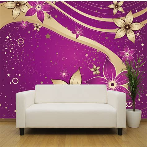 purple and gold bedroom purple and gold flowers wallpaper mural bedroom design 16815 | s l1000