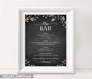 bar sign bar menu sign printable bar sign wedding bar With chalkboard wedding sign template