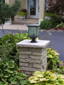 Mortared stone pillar with landscape lighting columns for Outdoor lights for driveway columns