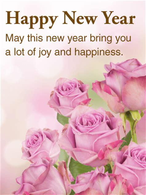 beautiful pink rose happy  year card birthday