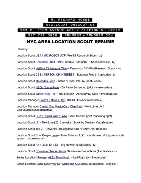 resume of location scout r richard hobbs 3 2017