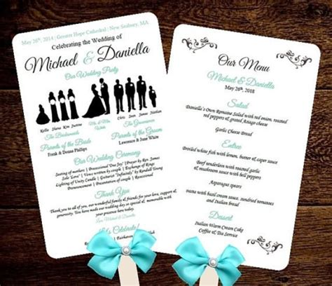 free wedding program fan diy silhouette wedding fan program w menu printable editable template free fonts choose