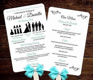 Diy silhouette wedding fan program w menu printable editable template free fonts choose for Wedding program fans template free