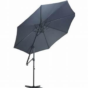 Pied De Parasol Gifi : parasol d port macao rond inclinable gris anthracite ~ Dailycaller-alerts.com Idées de Décoration