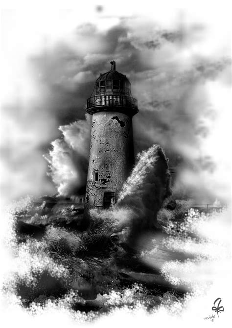 Photoshop, Tattoo, lighthouse, Blach & White, Waves, Sea