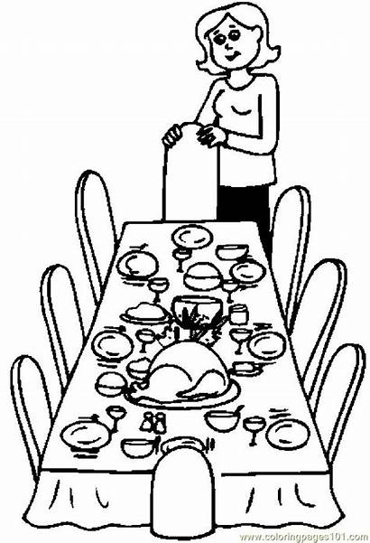 Coloring Pages Thanksgiving Dinner Table Dining Drawing