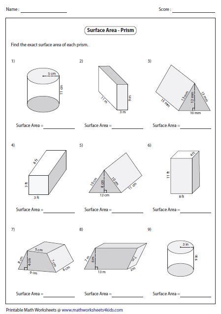 volume  prisms  cylinders worksheet surface area