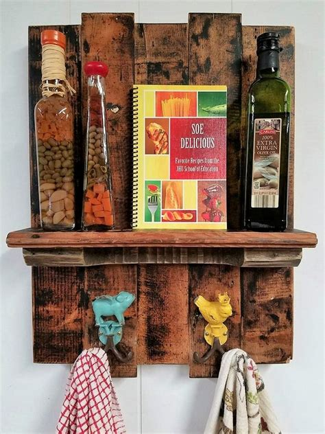 wooden pallets rustic kitchen shelf combo rack wood