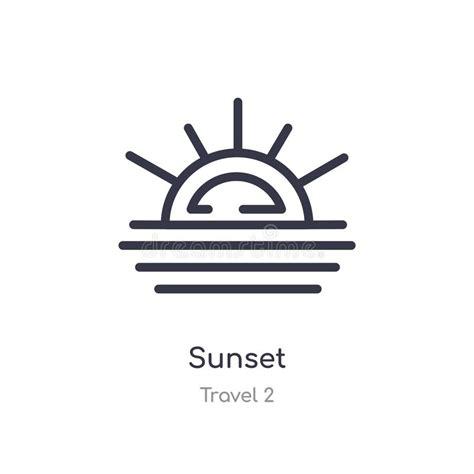 Sunrise, Sunset Linear Icon Isolated On White Background ...