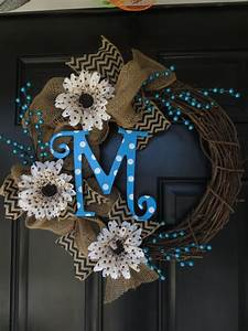 burlap wreath with polka dot letter only with a quotw With letter christmas wreath