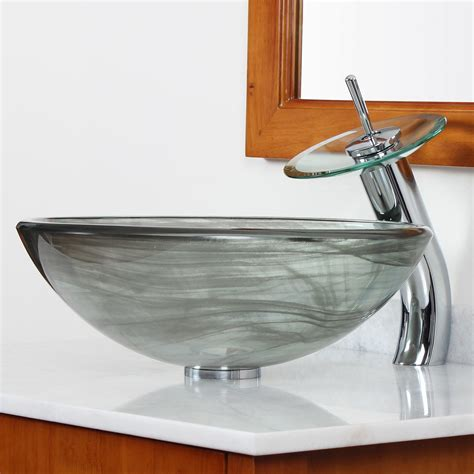 sink with bowl on elite double layered tempered glass bowl vessel bathroom