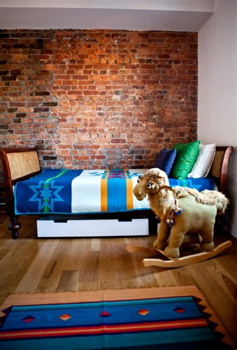 amazing kids bedroom designs  exposed brick walls rilane