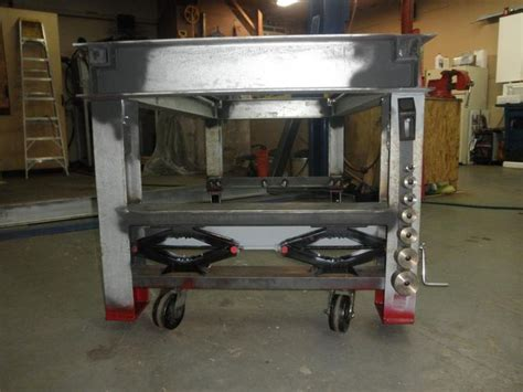 shop table on wheels heavy welding bench with scissor jacks moving retractable
